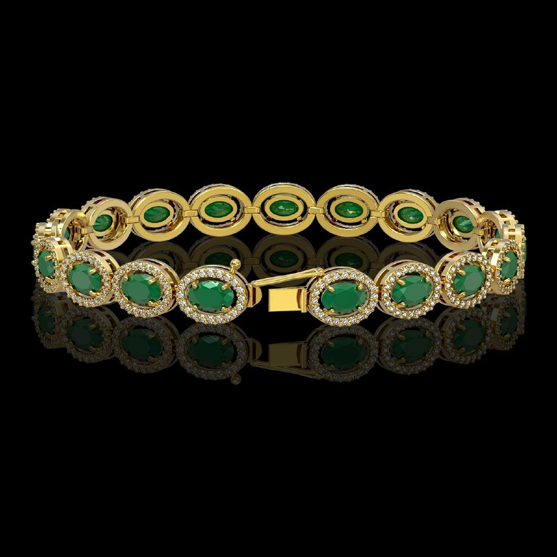 15.2 CTW Emerald & Diamond Halo Bracelet 10K Yellow - 2