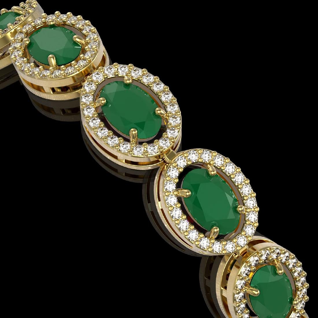 15.2 CTW Emerald & Diamond Halo Bracelet 10K Yellow - 3
