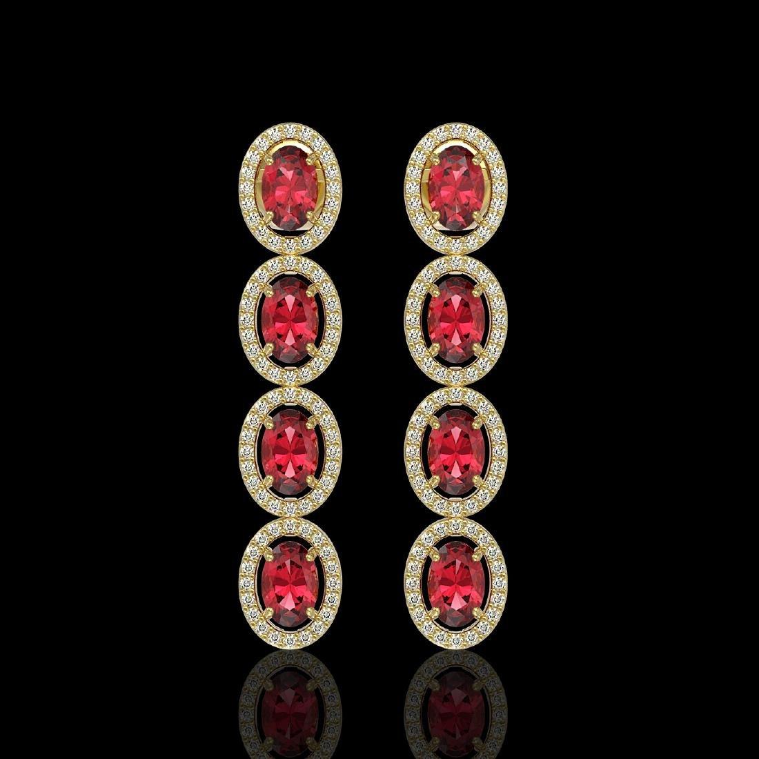 5.88 CTW Tourmaline & Diamond Halo Earrings 10K Yellow