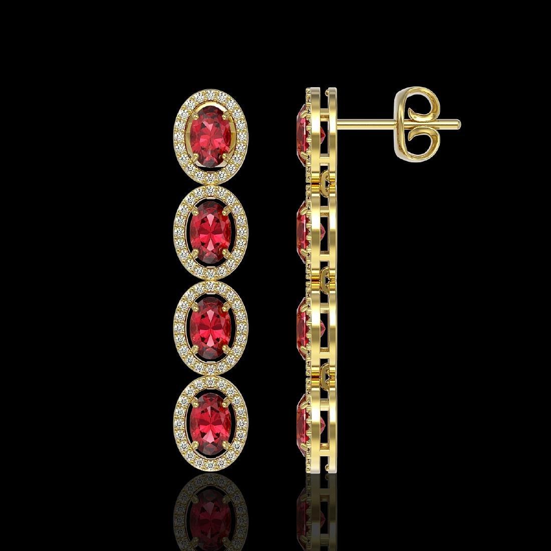 5.88 CTW Tourmaline & Diamond Halo Earrings 10K Yellow - 2