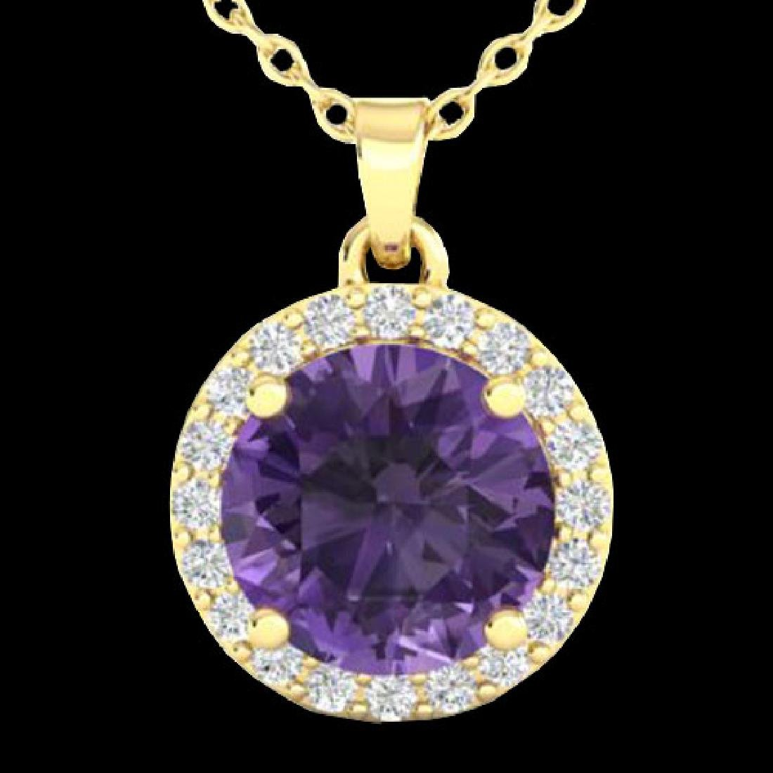 2 CTW Amethyst & Halo VS/SI Diamond Micro Pave Necklace - 2