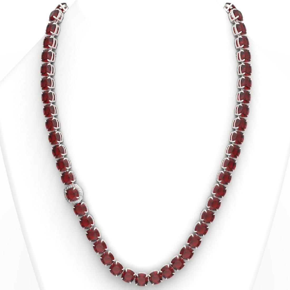87 CTW Garnet & VS/SI Diamond Halo Micro Pave Necklace - 3