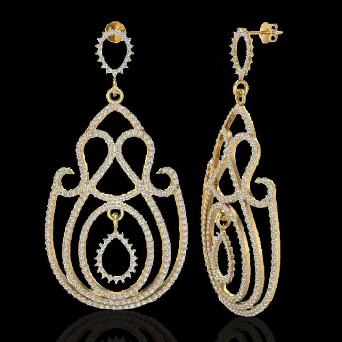 3.50 CTW Micro Pave Designer VS/SI Diamond Earrings 14K - 2