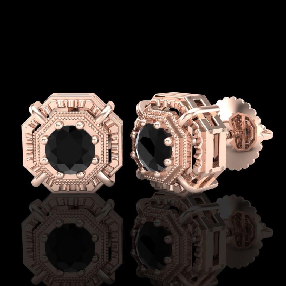 1.11 CTW Fancy Black Diamond Solitaire Art Deco Stud - 2