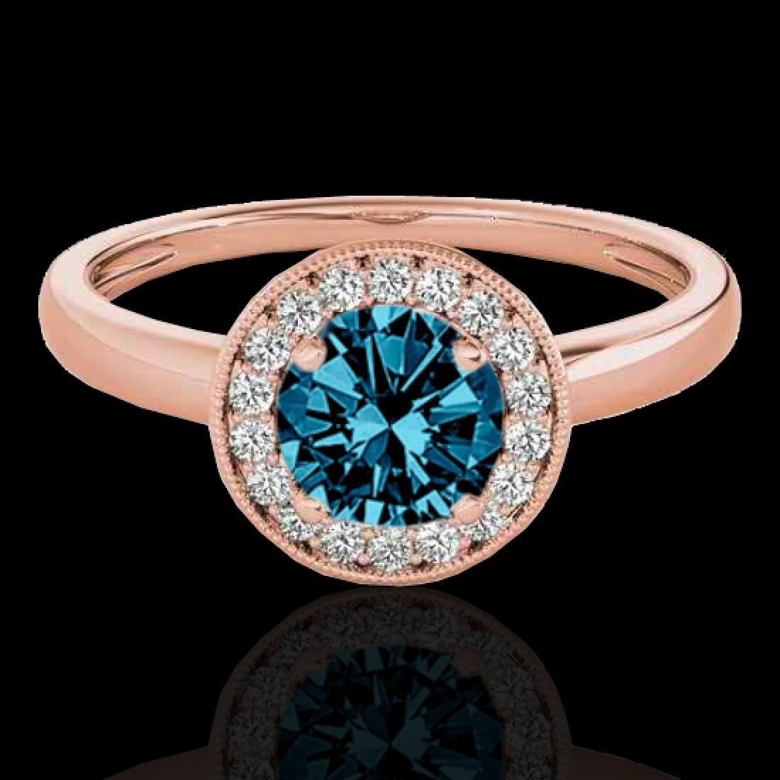 1.15 CTW SI Certified Fancy Blue Diamond Solitaire Halo