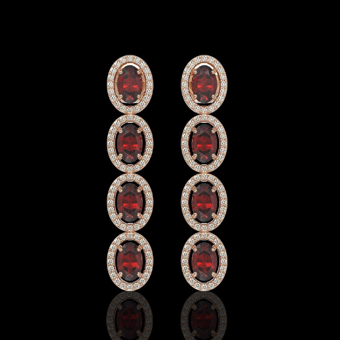 6.2 CTW Garnet & Diamond Halo Earrings 10K Rose Gold