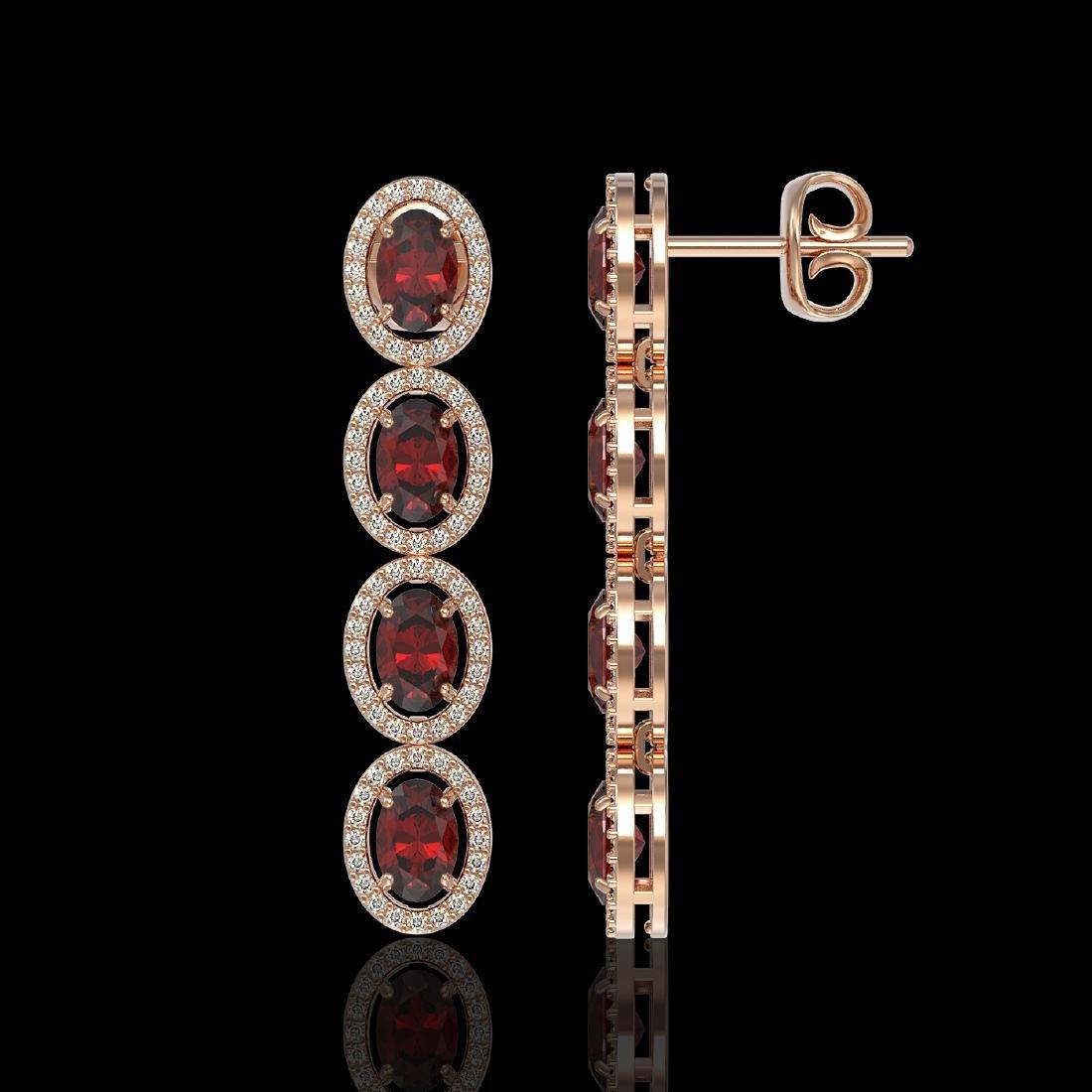 6.2 CTW Garnet & Diamond Halo Earrings 10K Rose Gold - 2