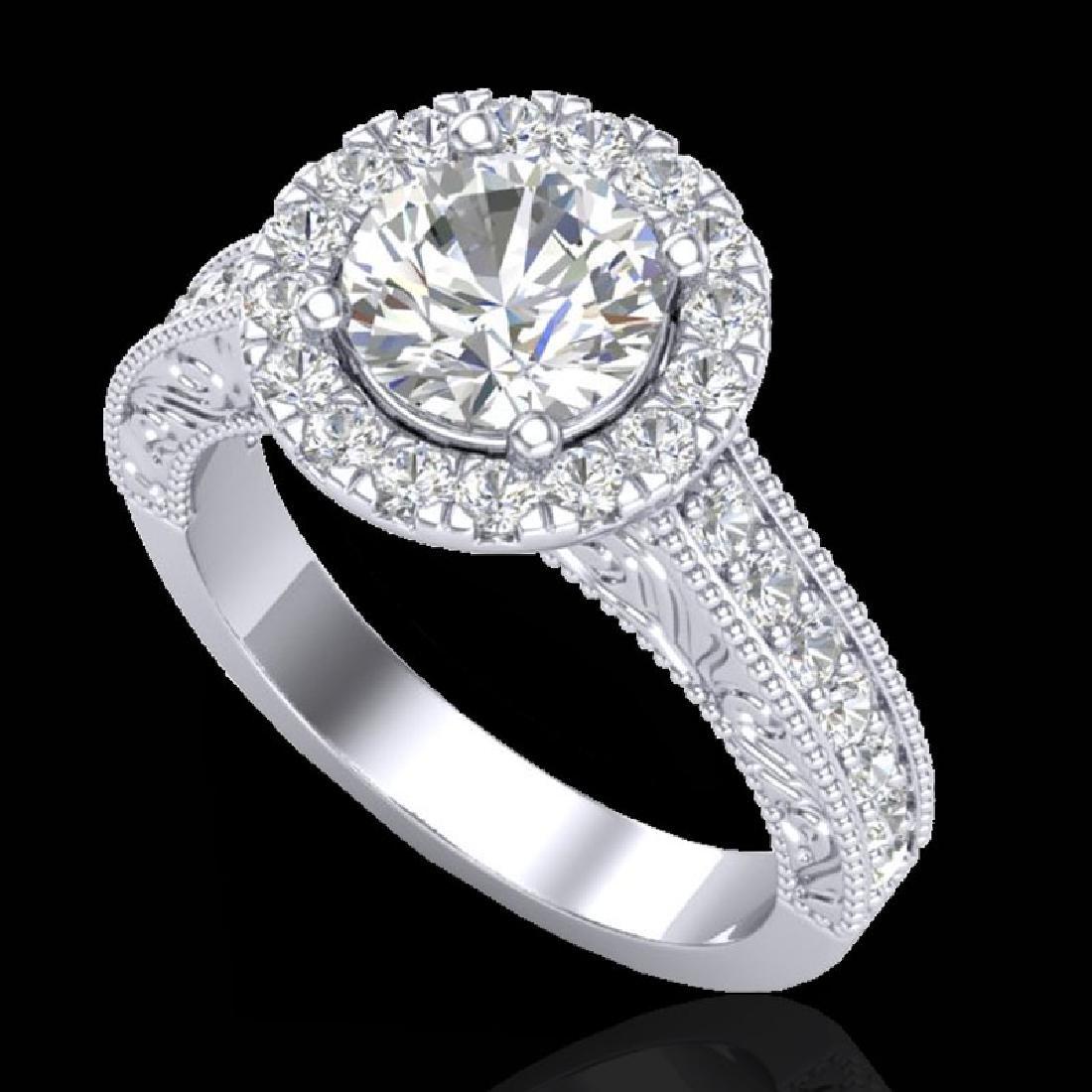 2.25 CTW Vintage Solitaire VS/SI Diamond Halo Ring 14K - 2