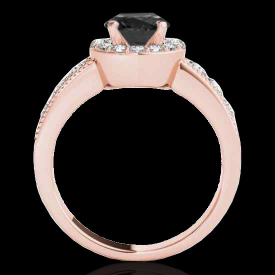 2.1 CTW Certified VS Black Diamond Solitaire Halo Ring - 2