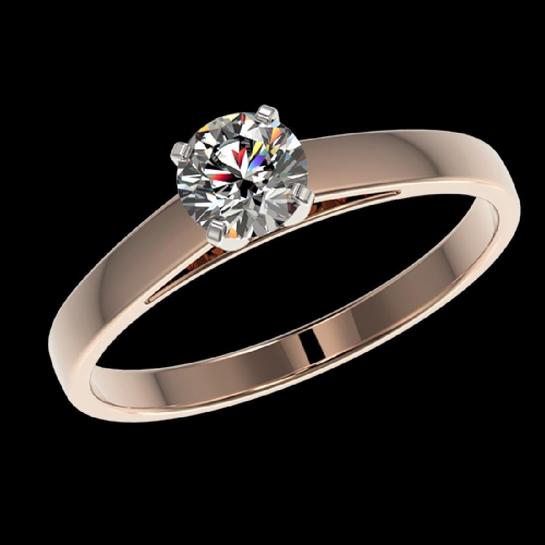 0.53 CTW Certified H-SI/I Quality Diamond Solitaire - 2