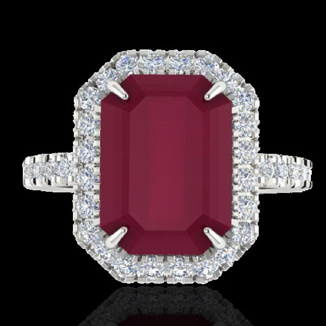 5.33 CTW Ruby And Micro Pave VS/SI Diamond Halo Ring