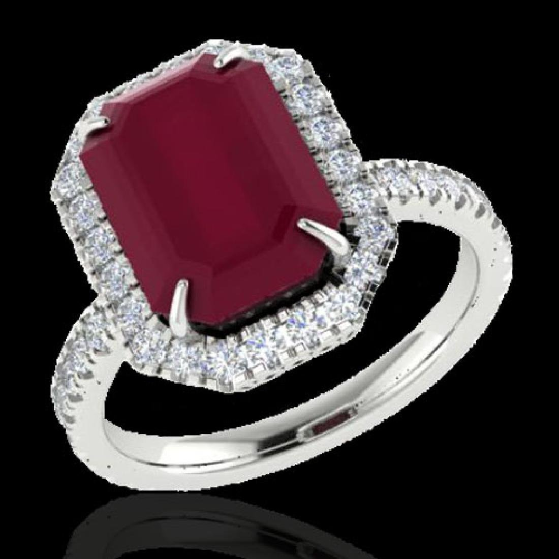 5.33 CTW Ruby And Micro Pave VS/SI Diamond Halo Ring - 2