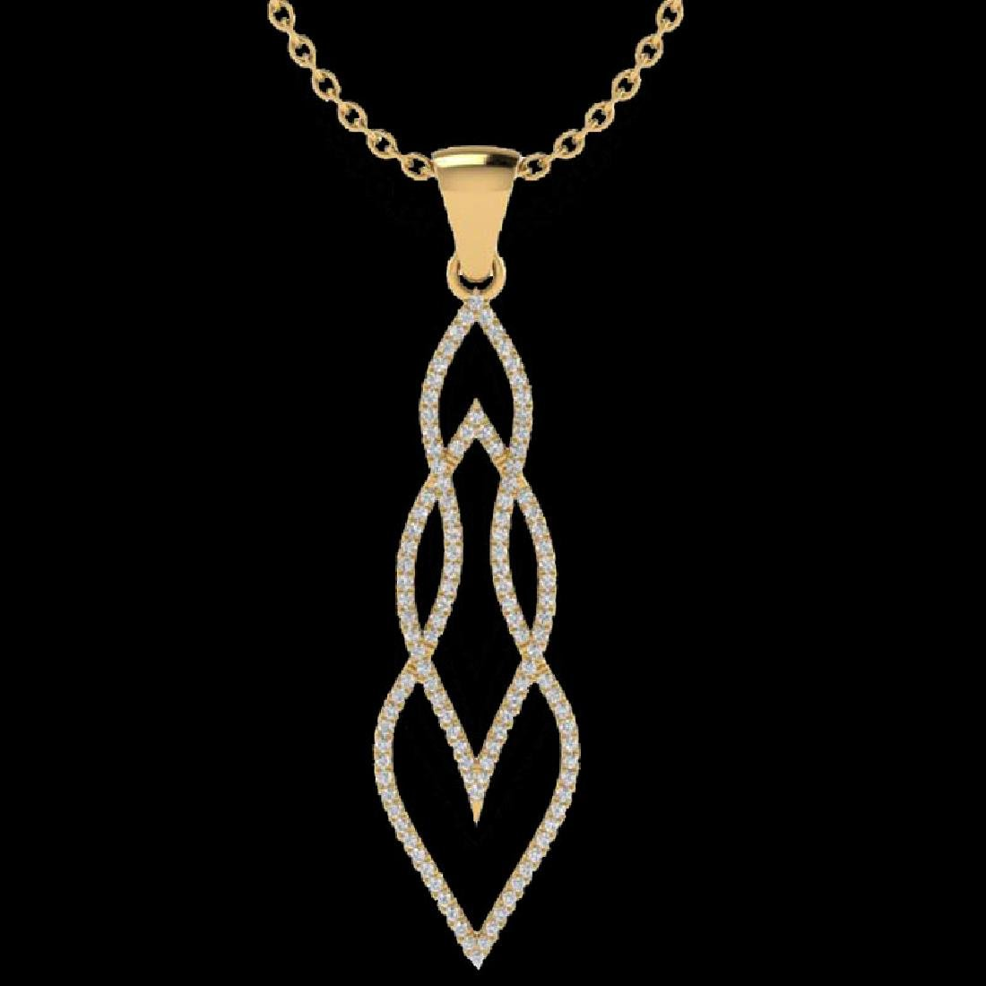 0.80 CTW Micro Pave VS/SI Diamond Necklace 14K Yellow