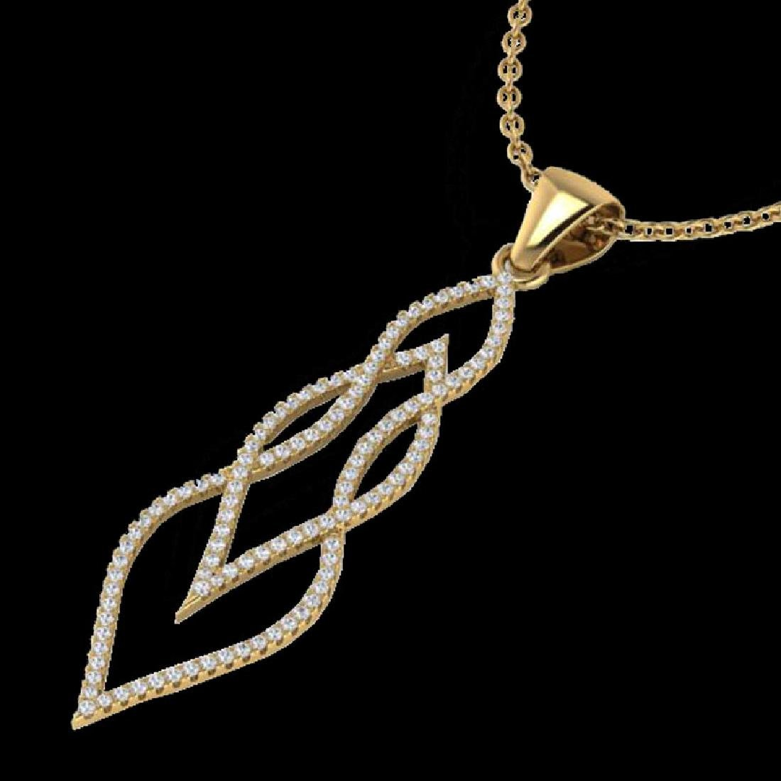 0.80 CTW Micro Pave VS/SI Diamond Necklace 14K Yellow - 2