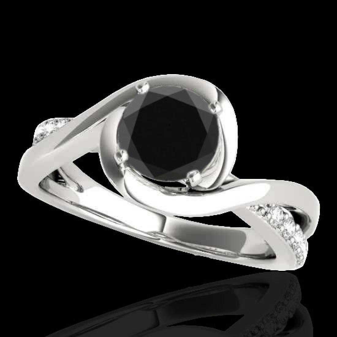 1.15 CTW Certified VS Black Diamond Solitaire Ring 10K