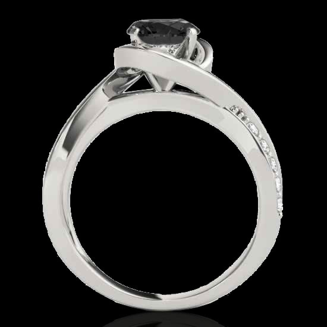 1.15 CTW Certified VS Black Diamond Solitaire Ring 10K - 2