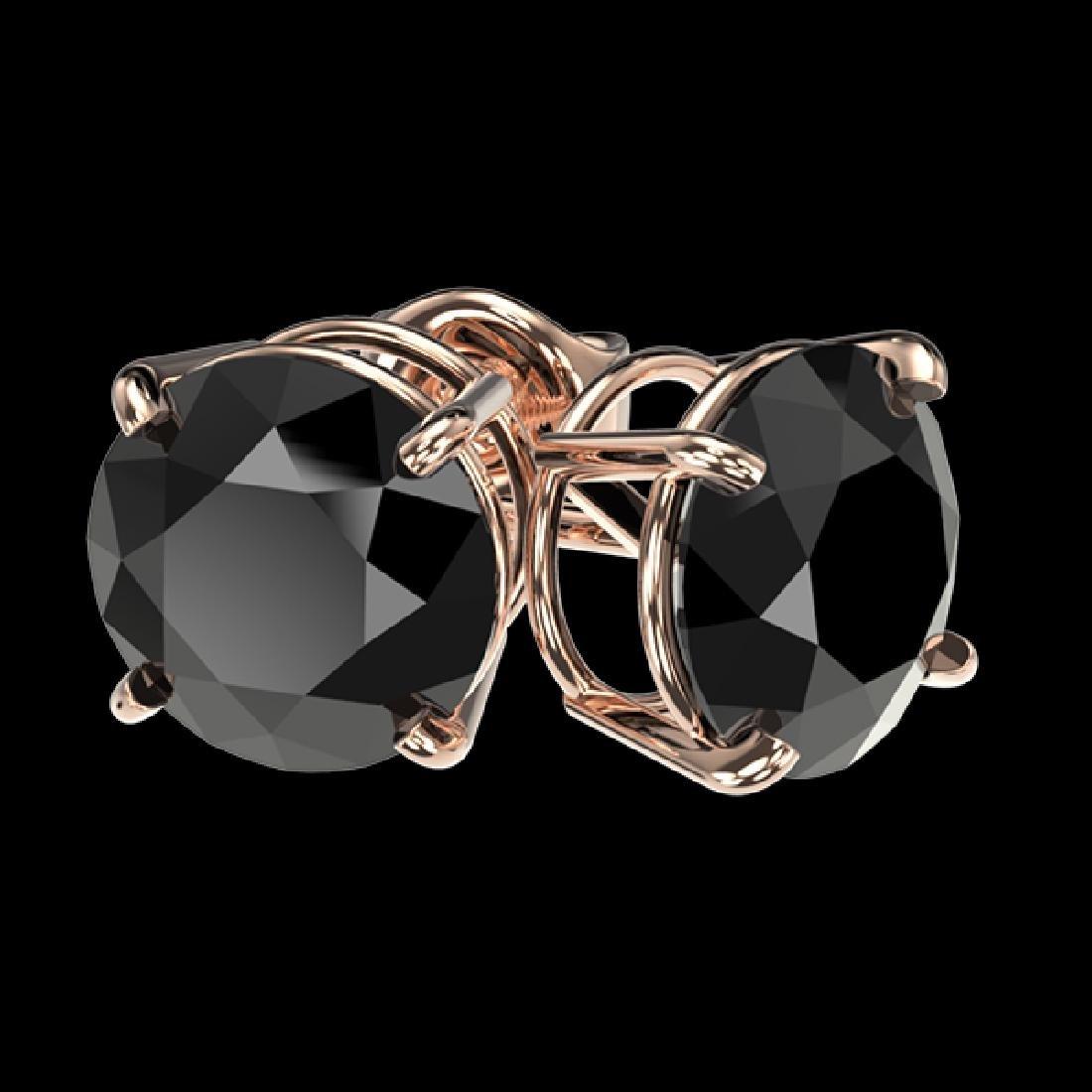 2.60 CTW Fancy Black VS Diamond Solitaire Stud Earrings - 3