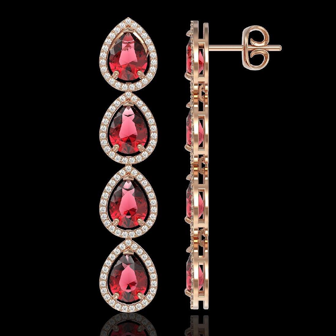 10.48 CTW Tourmaline & Diamond Halo Earrings 10K Rose - 2