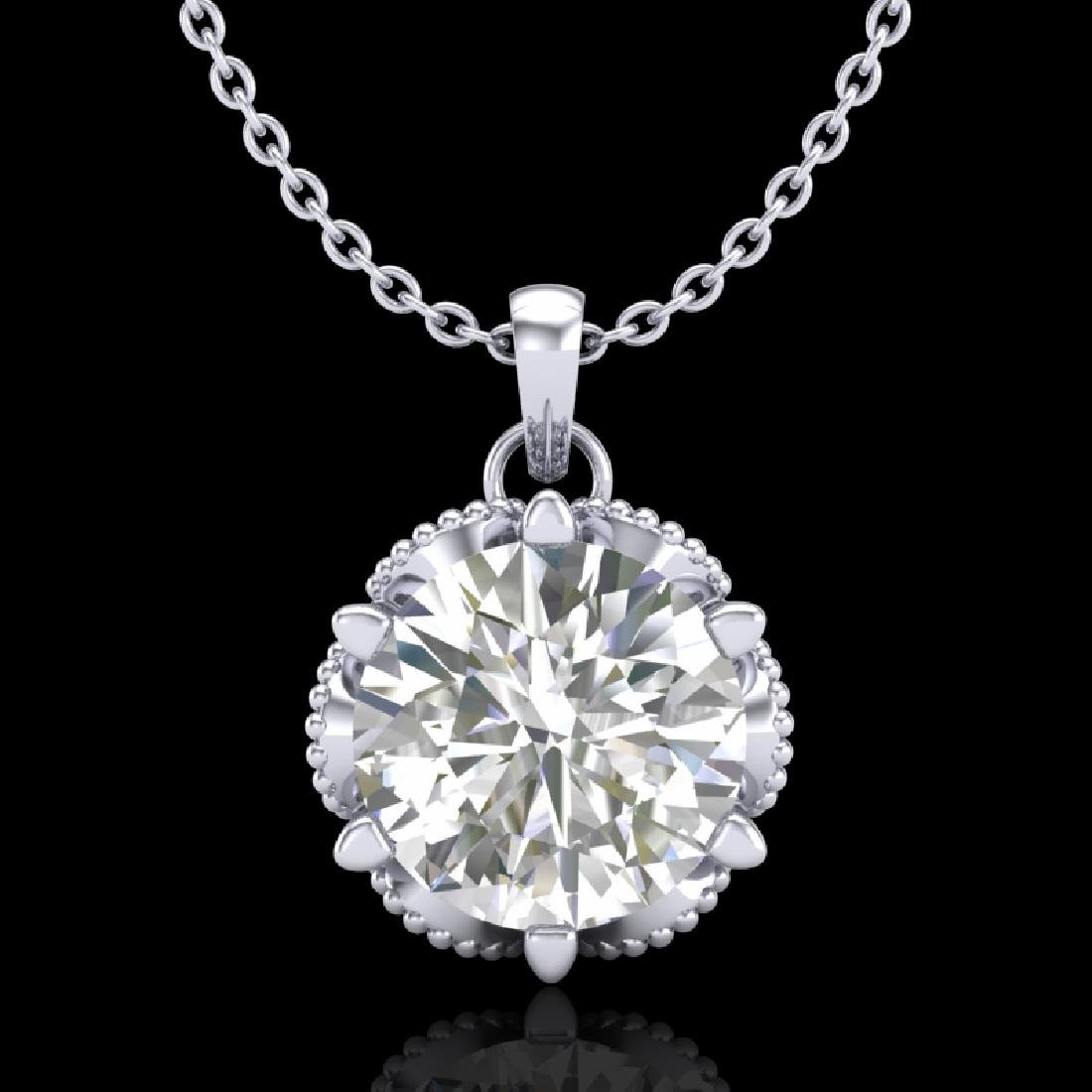 1.36 CTW VS/SI Diamond Solitaire Art Deco Necklace 18K