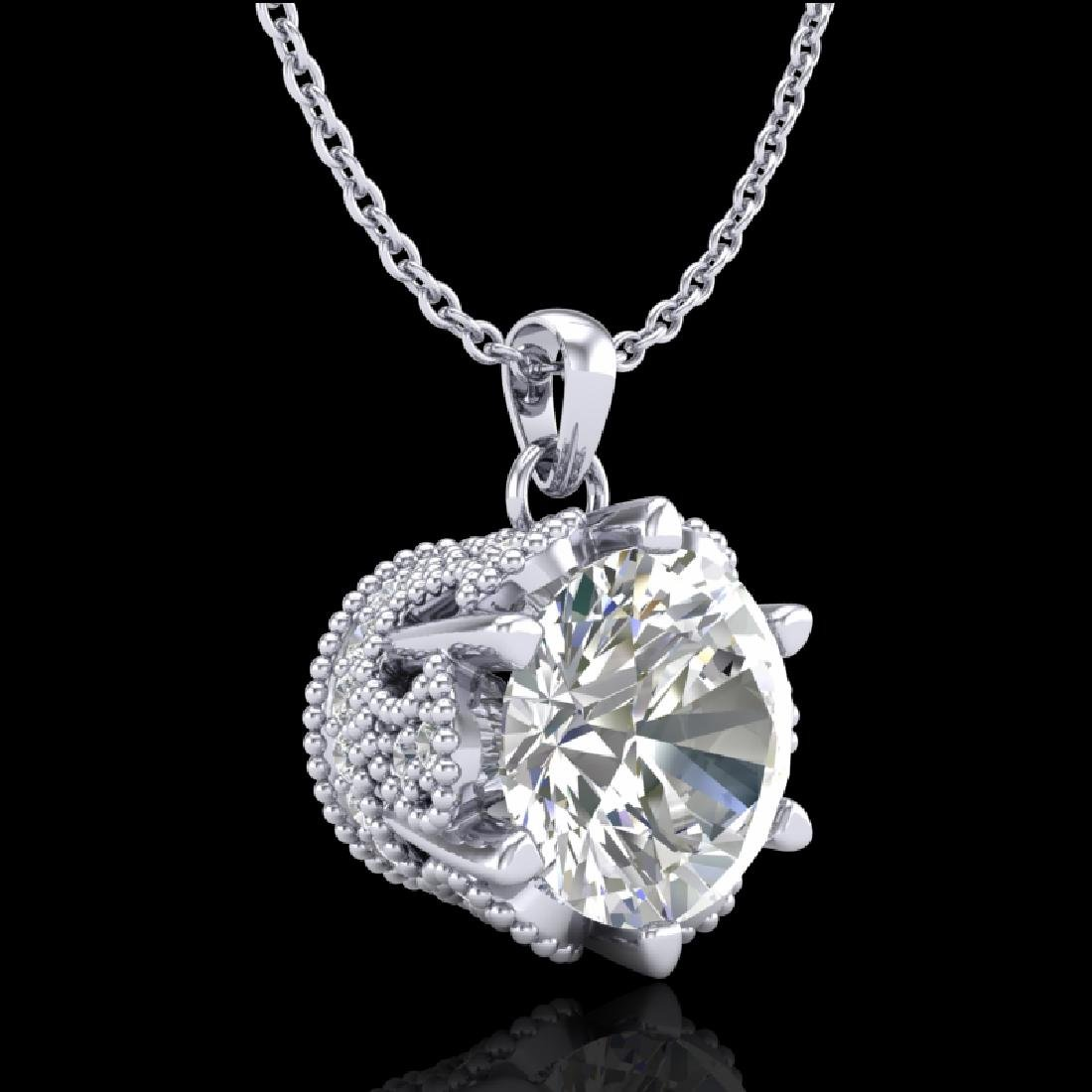 1.36 CTW VS/SI Diamond Solitaire Art Deco Necklace 18K - 3