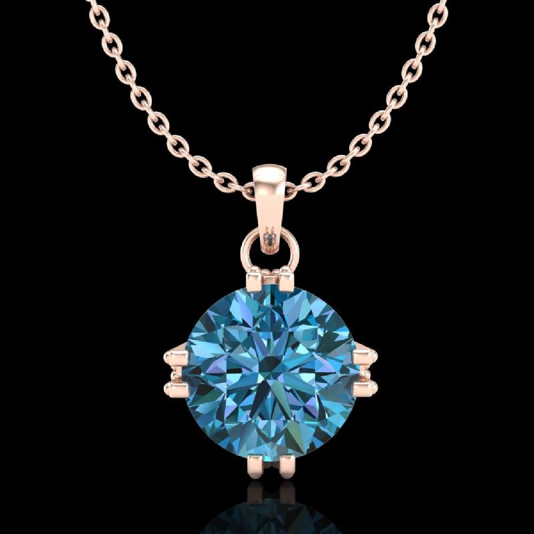 1 CTW Intense Blue Diamond Solitaire Art Deco Stud