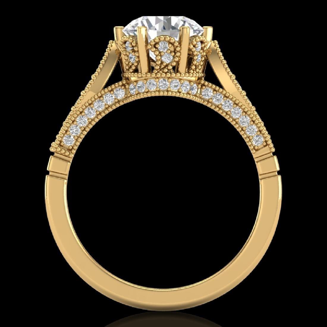 2.2 CTW VS/SI Diamond Art Deco Ring 18K Yellow Gold
