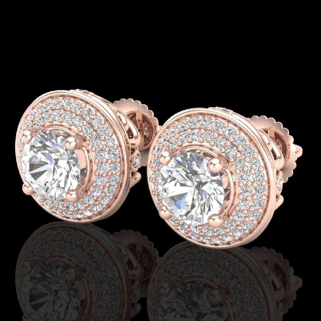 2.35 CTW VS/SI Diamond Solitaire Art Deco Stud Earrings
