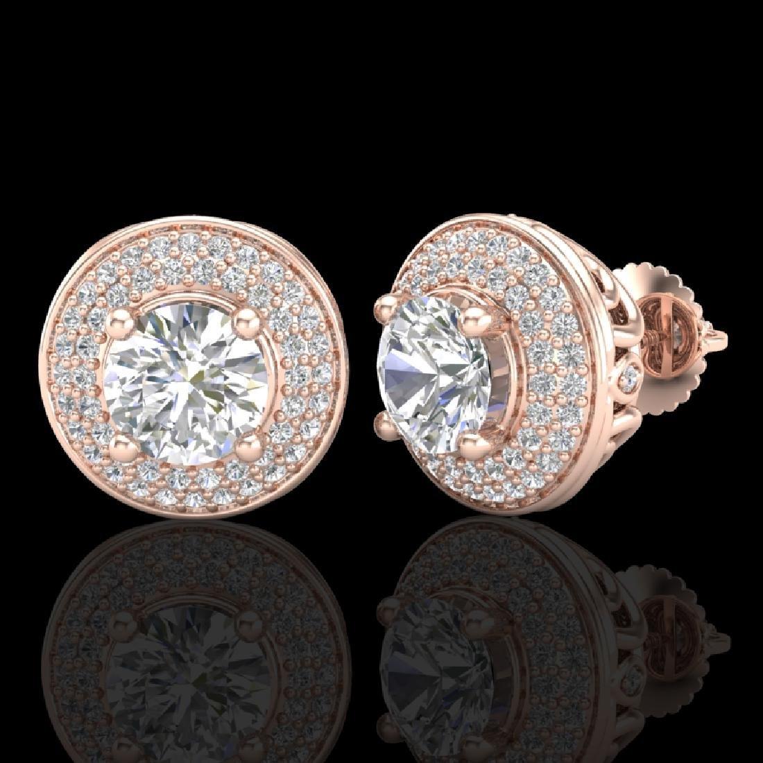 2.35 CTW VS/SI Diamond Solitaire Art Deco Stud Earrings - 2