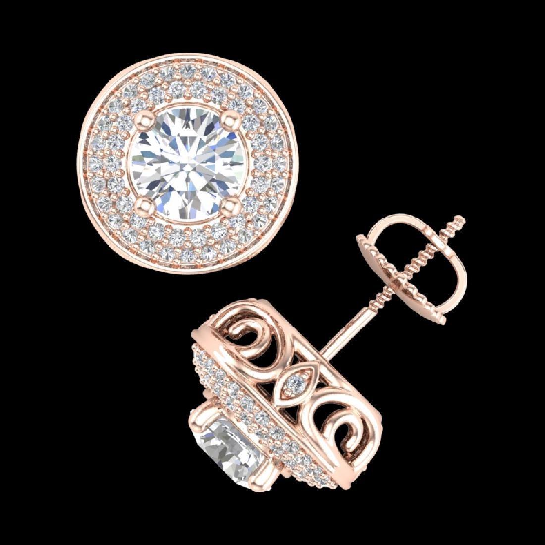 2.35 CTW VS/SI Diamond Solitaire Art Deco Stud Earrings - 3