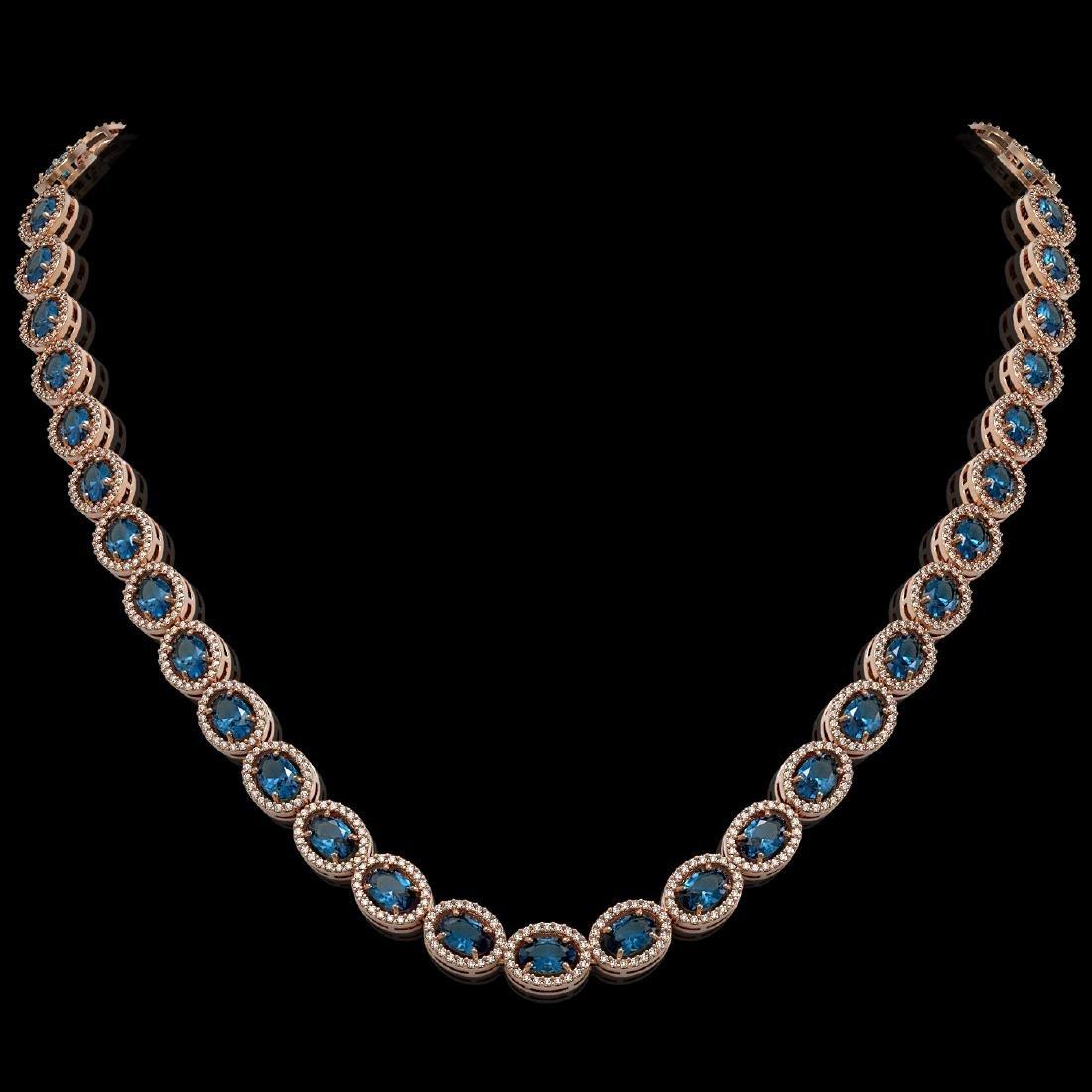 33.25 CTW London Topaz & Diamond Halo Necklace 10K Rose