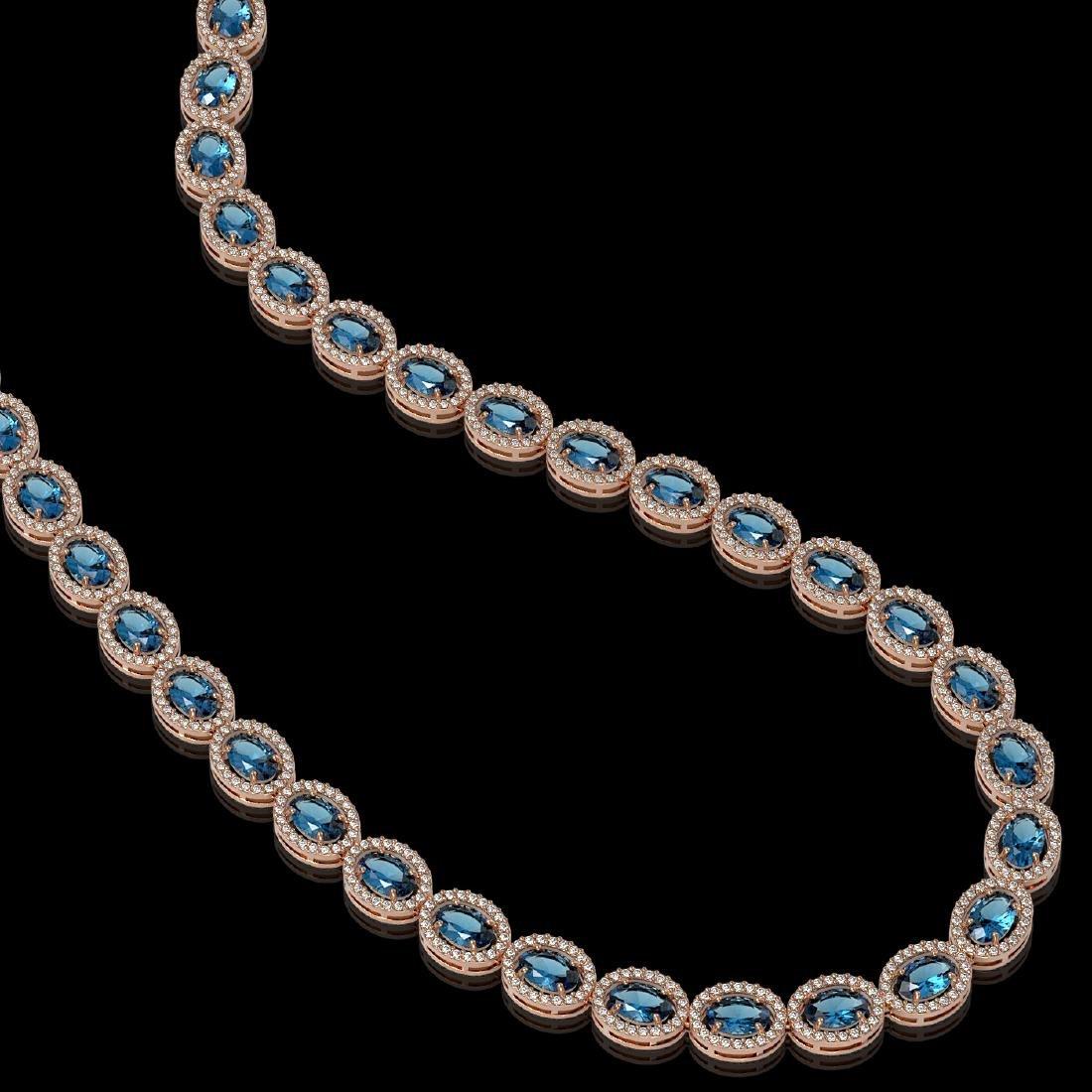 33.25 CTW London Topaz & Diamond Halo Necklace 10K Rose - 2