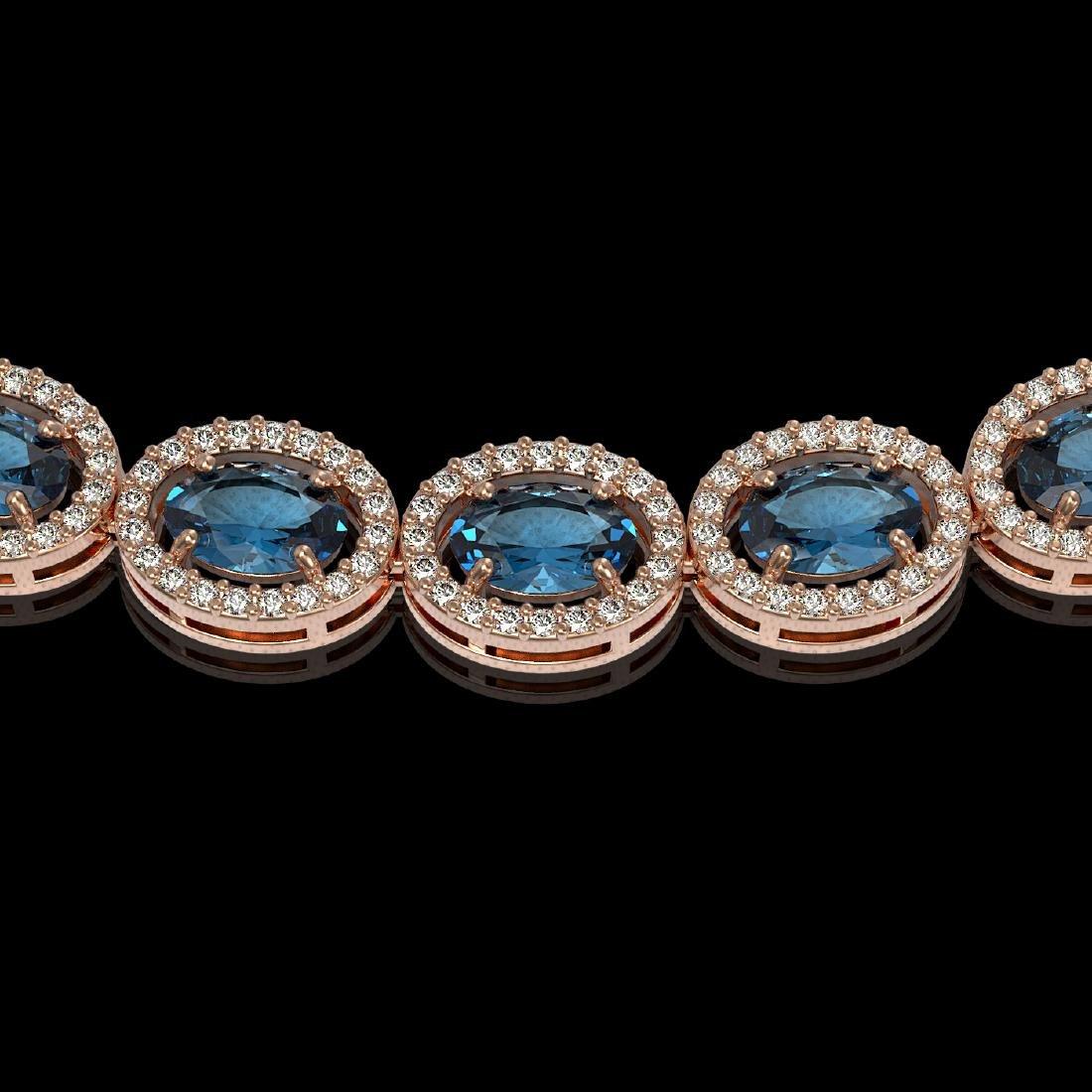 33.25 CTW London Topaz & Diamond Halo Necklace 10K Rose - 3