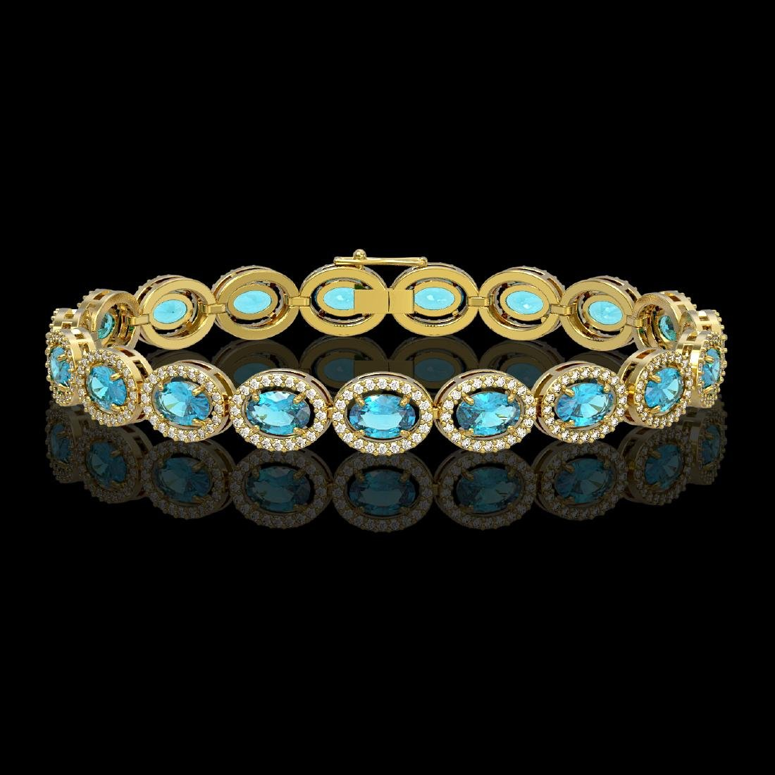 14.82 CTW Swiss Topaz & Diamond Halo Bracelet 10K
