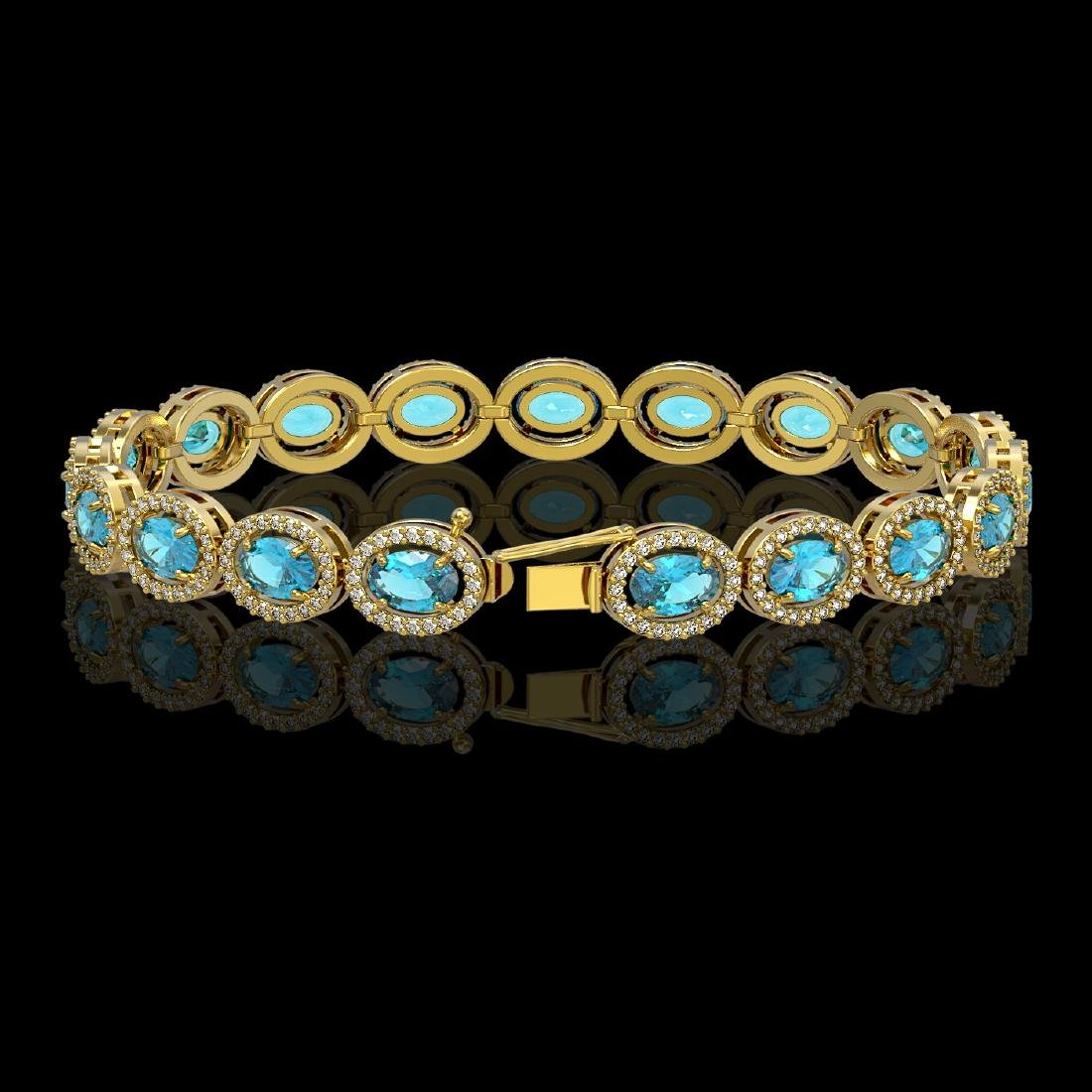 14.82 CTW Swiss Topaz & Diamond Halo Bracelet 10K - 2