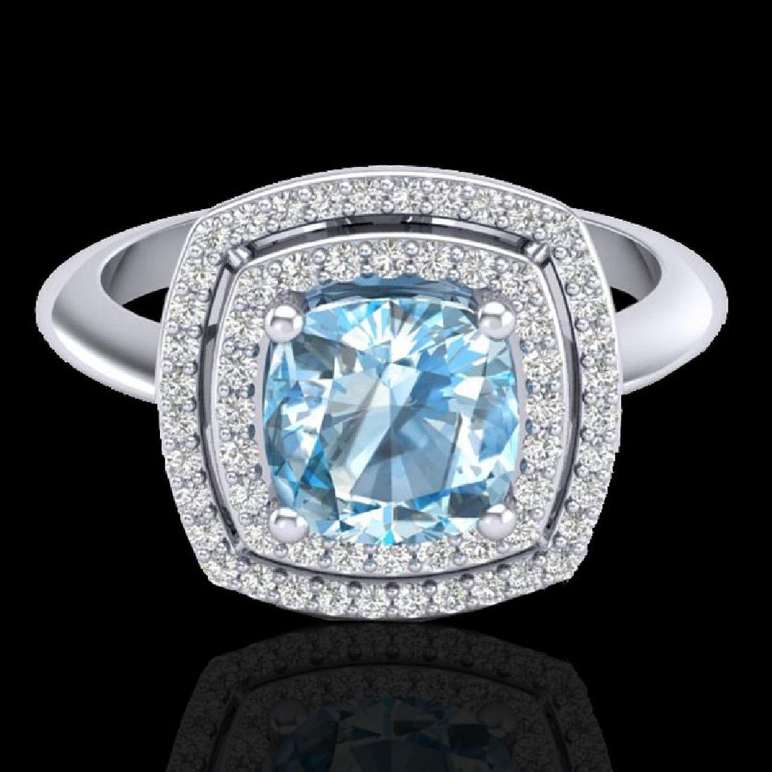 2.02 CTW Sky Blue Topaz & Micro VS/SI Diamond Halo Ring
