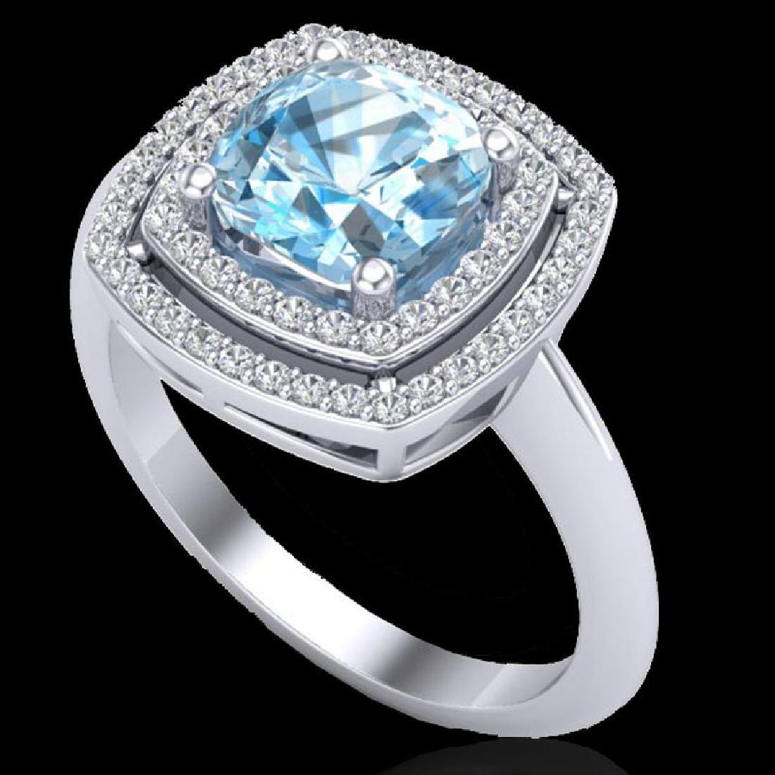 2.02 CTW Sky Blue Topaz & Micro VS/SI Diamond Halo Ring - 2