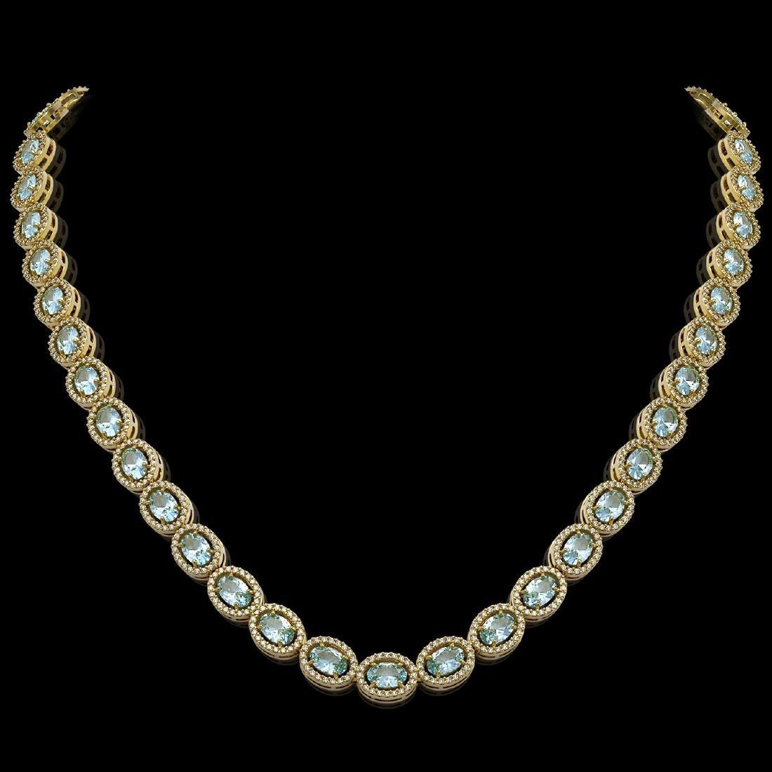 24.65 CTW Aquamarine & Diamond Halo Necklace 10K Yellow