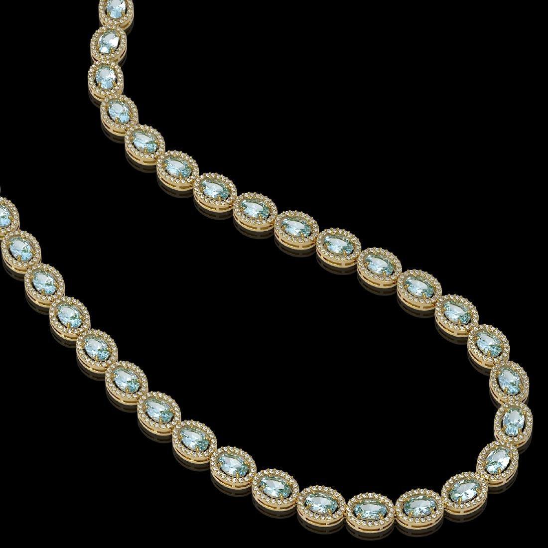 24.65 CTW Aquamarine & Diamond Halo Necklace 10K Yellow - 2