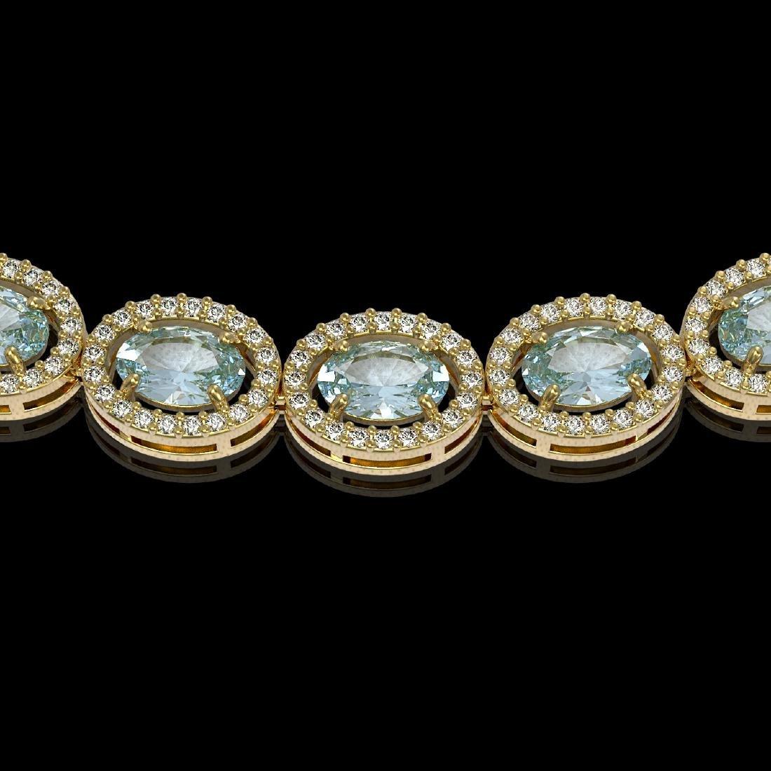 24.65 CTW Aquamarine & Diamond Halo Necklace 10K Yellow - 3