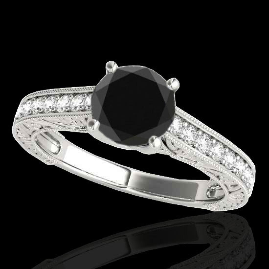 1.82 CTW Certified VS Black Diamond Solitaire Ring 10K