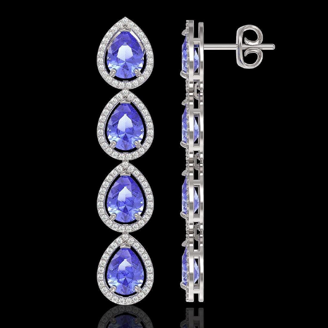 11.2 CTW Tanzanite & Diamond Halo Earrings 10K White - 2