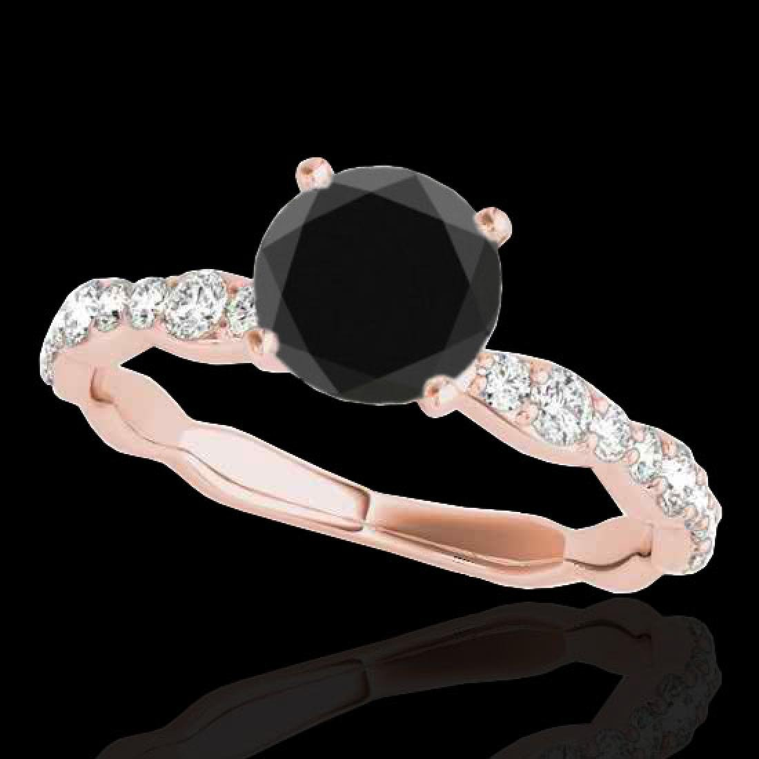 1.4 CTW Certified VS Black Diamond Solitaire Ring 10K