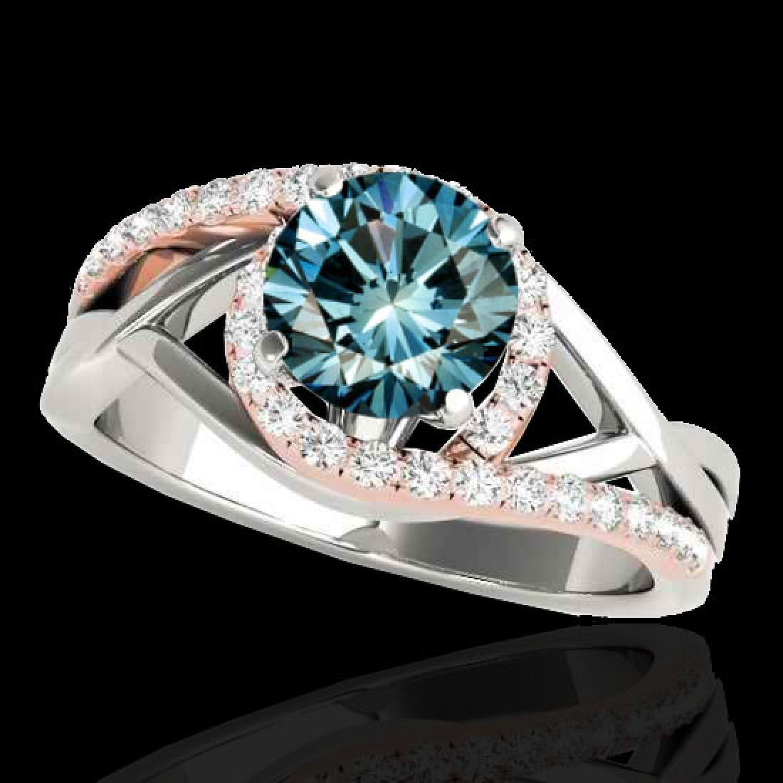 1.55 CTW SI Certified Fancy Blue Diamond Bypass