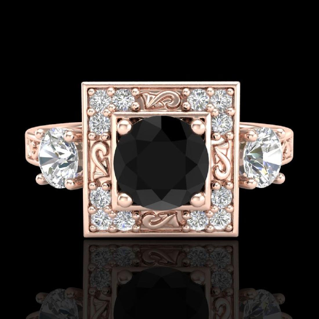 1.55 CTW Fancy Black Diamond Solitaire Art Deco 3 Stone - 2