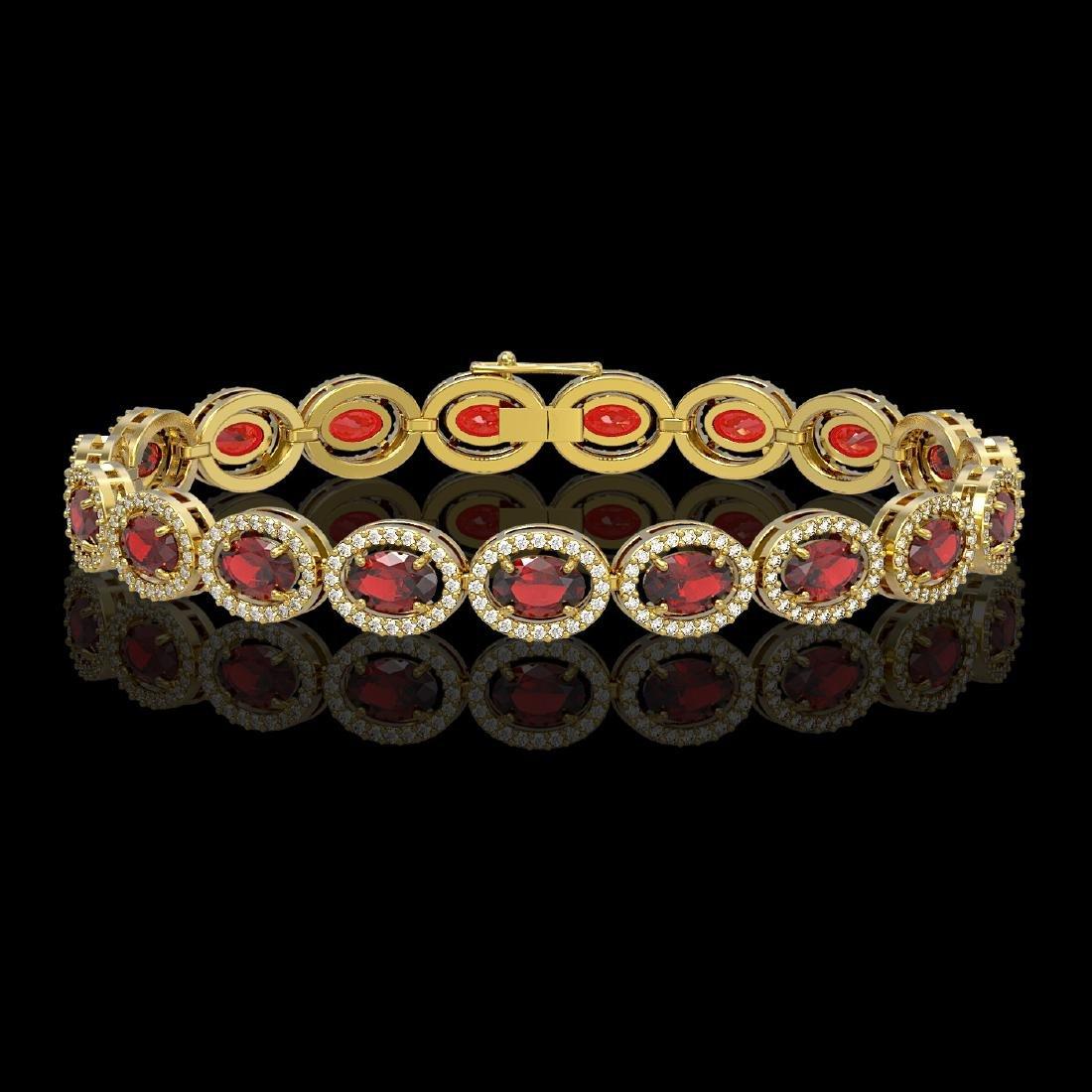 14.63 CTW Garnet & Diamond Halo Bracelet 10K Yellow