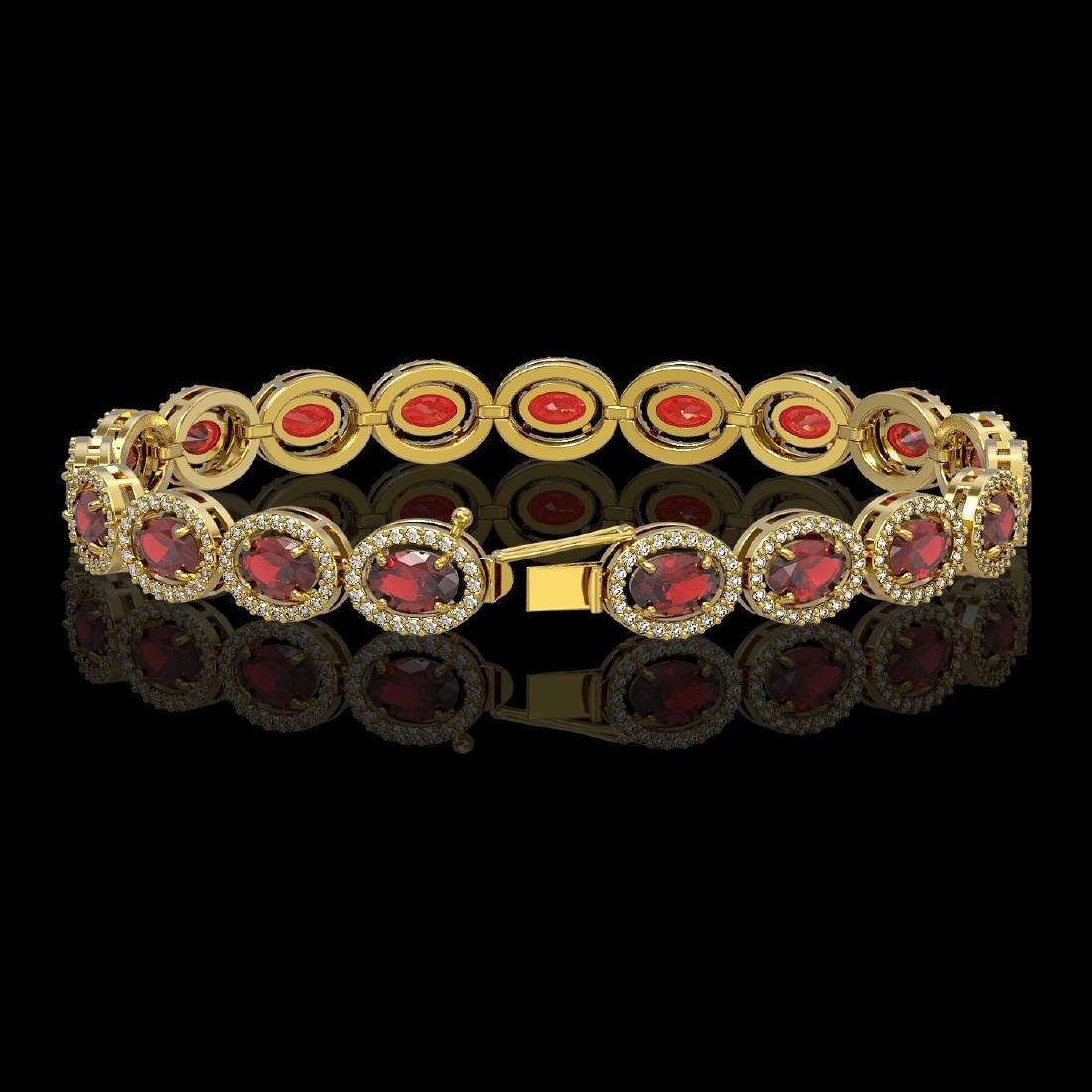 14.63 CTW Garnet & Diamond Halo Bracelet 10K Yellow - 2