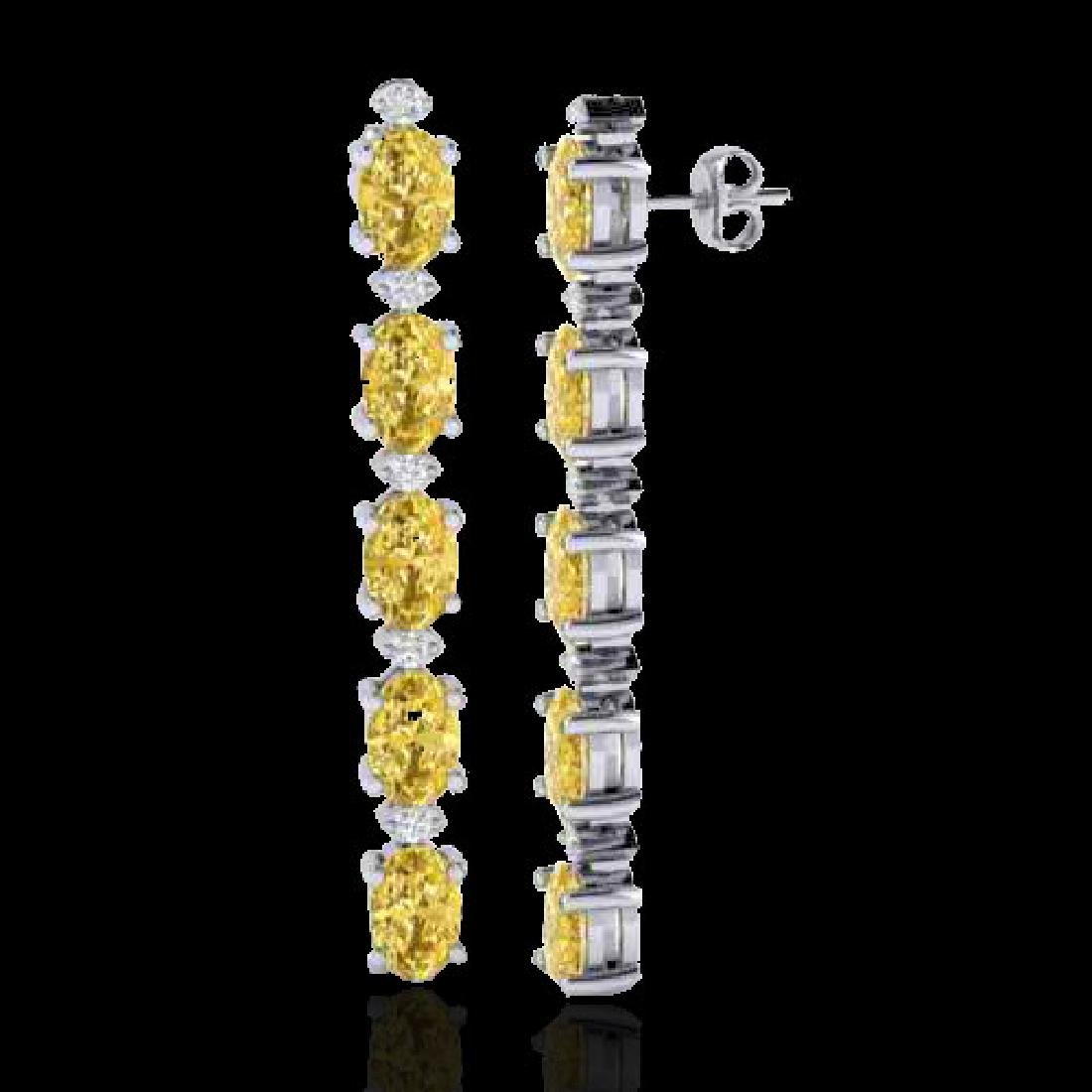 6 CTW Citrine & VS/SI Diamond Tennis Earrings 10K White - 2