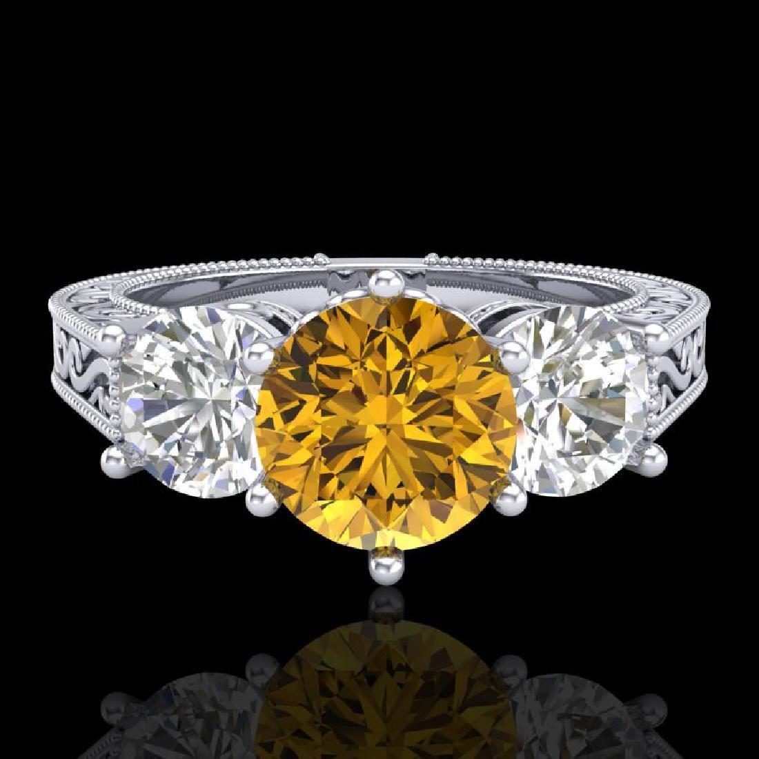 2.01 CTW Intense Fancy Yellow Diamond Art Deco 3 Stone - 2