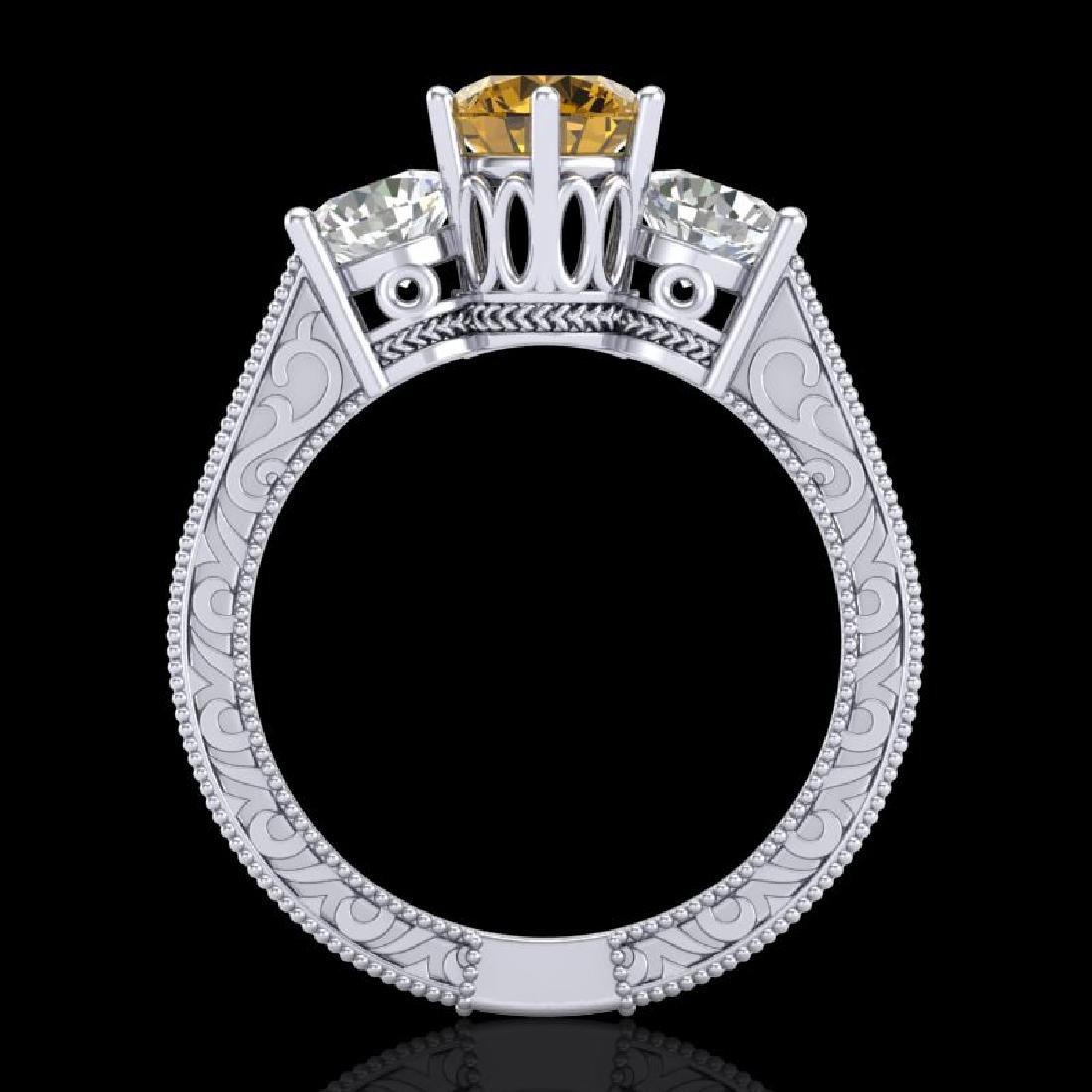 2.01 CTW Intense Fancy Yellow Diamond Art Deco 3 Stone - 3