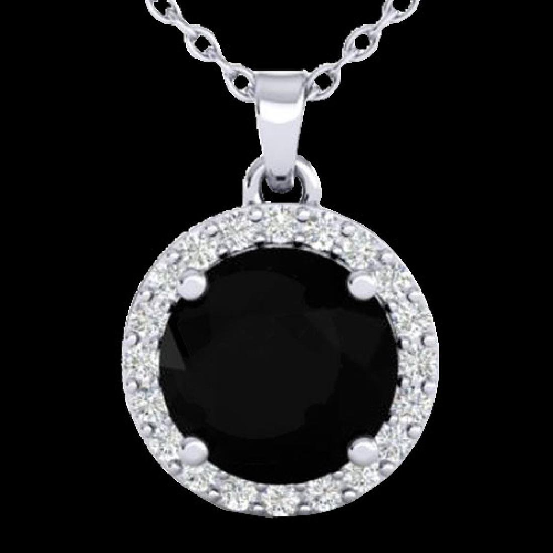 2 CTW Halo VS/SI Diamond Micro Pave Necklace Solitaire - 2